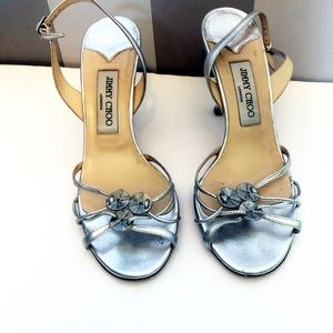 Jimmy Choo Silver Slingback Sandals Size 8.5